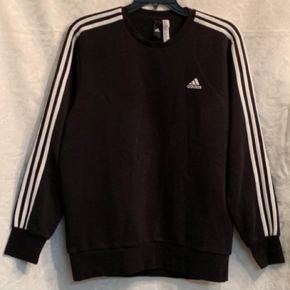 adidas essentials 3 stripes crew sweatshirt